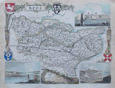 Old map of Kent by Thomas Moule circa 1850