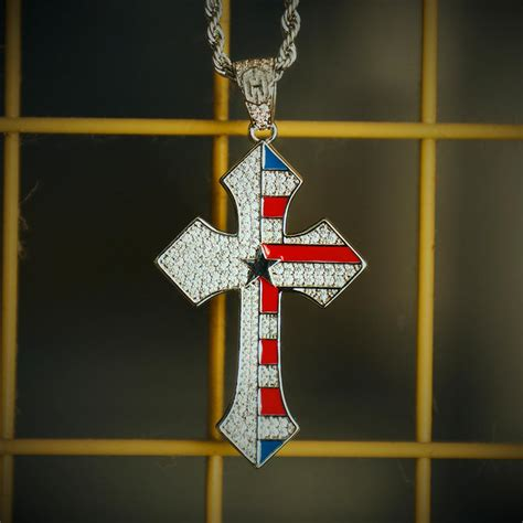 Iced USA Flag Cross Pendant in White Gold - Helloice Jewelry