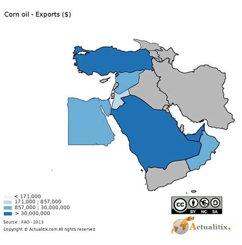 Middle East : Map - Corn oil - Exporting Countries ($) - 2016