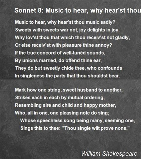 Sonnet 8: Music To Hear, Why Hear'st Thou Music Sadly