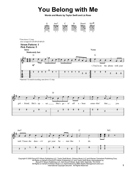 You Belong With Me by Taylor Swift - Easy Guitar Tab