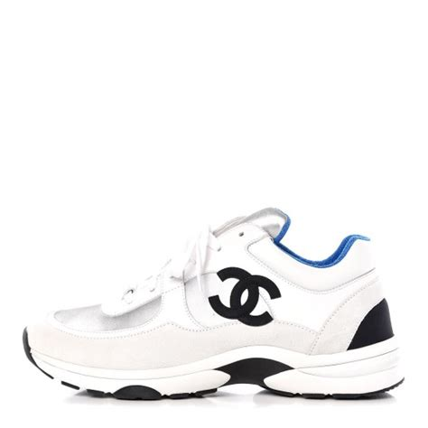 CHANEL Calfskin Fabric Mens Sneakers 41 White Silver Fluo