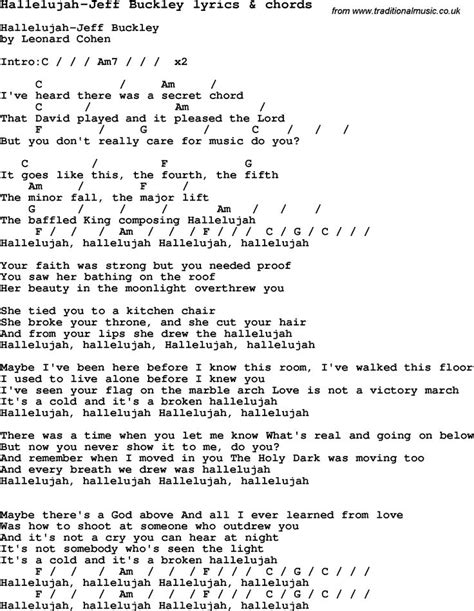 Love Song Lyrics for:Hallelujah-Jeff Buckley with chords
