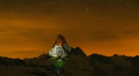 Switzerland mountain lights up Indian flag to express
